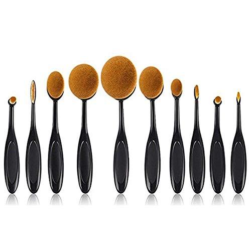 Lot de 10 pinceaux de maquillage ovales professionnels pour fond de teint, anti-cernes, pinceaux courbés pour mélanger fond de teint fluide, en poudre, en crème, pour le visage et les yeux
