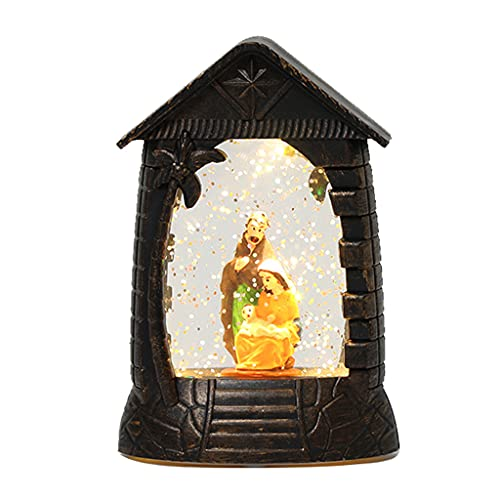 PHILSP Luces de Escritorio Natividad iluminada Retro Luces de Escritorio Adorno Elemento religioso Lámpara Decoración Escritorio A