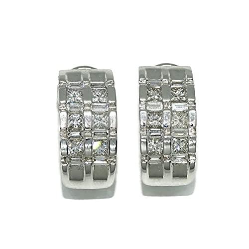 Elegantes y lujosos pendientes de oro blanco de 18k con diamantes auténticos que pesan 1.53cts