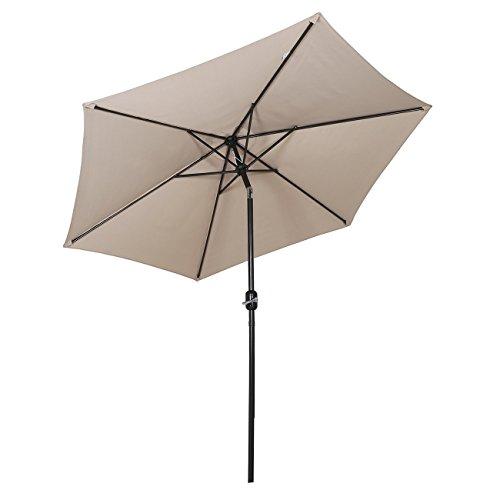 Sekey® Ombrellone in Ombrello Parasole da Esterno da Giardino Ø 270 cm Protezione Solare UV50+ Taupe