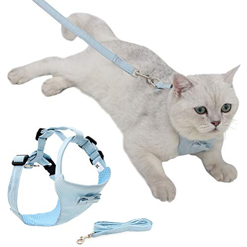 Cat Vest Harness and Leash Set to Outdoor Walking, Cat Harness Escape Proof Ddzmz Escape Proof Soft Mesh Breathable Adjustable Vest Harnesses for Cats Blue S-M Size for Pet Kitten Puppy Rabbit Ferret