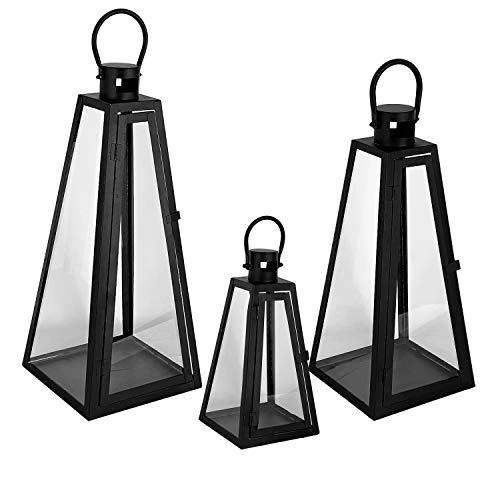 Mojawo 3er Set Luxus Gartenlaternen Pyramiden Set Windlicht Laterne Glas schwarz 27/40 / 55 cm