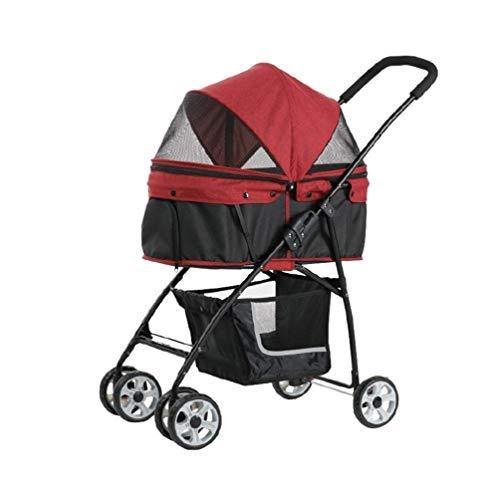 Trolley voor honden, 4 wielen, kinderwagen, babydrager in de openlucht, voor reizen, bidirectioneel, opvouwbaar, voor dieren en katten, joggers, Rood