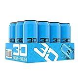 3D Energy Drink | Caffeine, Zero Sugar, Taurine, Panax Ginseng, Inositol, Guarana Seed, L-Carnitine Tartrate, 16 Fluid Ounce | 12 Pack (Blue)