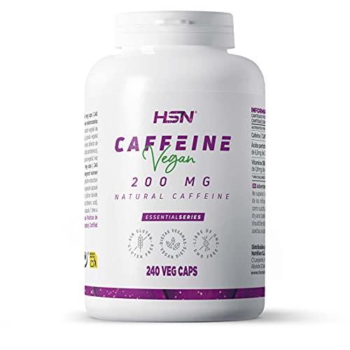 Cafeína Anhidra de HSN | 200mg | Efecto Rápido | Termogénico + Estimulante + Activador | Aumenta la Concentración y Rendimiento Deportivo | No-GMO, Vegano, Sin Gluten | 240 Tabletas