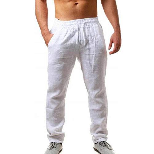 MakingDa Men's Cotton Linen Lounge Long Pants Pockets Drawstring Elastic Waist Smart...