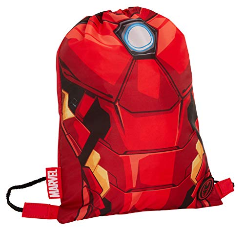 Boys Marvel Iron Man Drawstring Gym Bag Avengers Sports Swimming PE Kit...