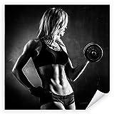 Postereck 3534 - Poster & Leinwand - Quadrat, Frau Fitness Hantel Sport Training Größe Poster -...