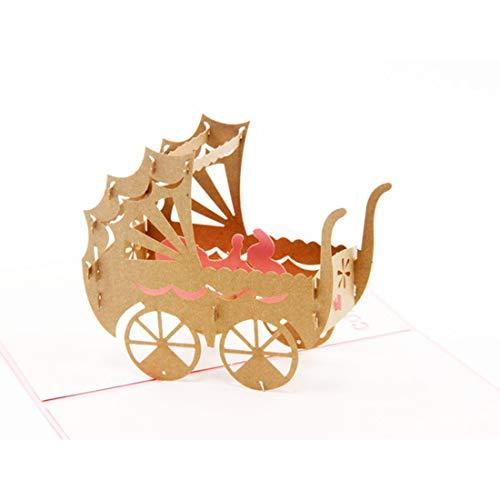 3d Pop-up Wenskaart, Handgemaakte Baby Verjaardagskaart Verjaardag Cadeaubon Met Envelop Voor Kinderen, Baby's, Kinderen, Peuters, Pasgeboren Baby's Gefeliciteerd (Kinderwagen Met Babymeisje) Roze