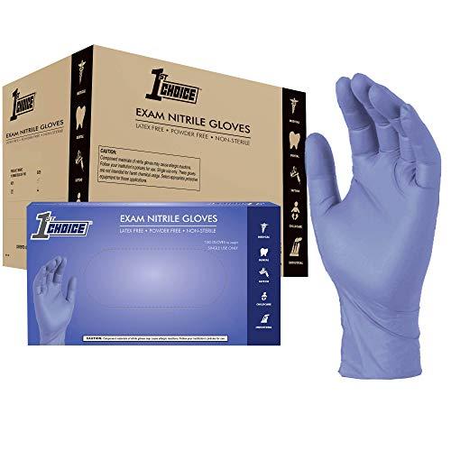 1st Choice Light Indigo Nitrile Exam Gloves, Case of 1000, 3 Mil, Size Medium, Latex Free, Powder Free, Disposable, Non-Sterile, Food Safe, 1VSEINM