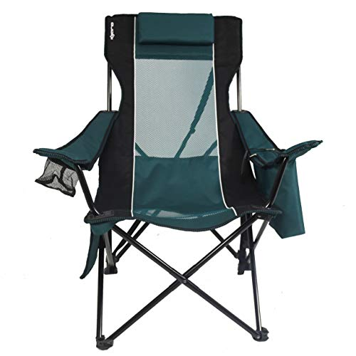 Kijaro Folding Portable Sling Camping Chair with Cooler, Cayman Blue Iguana