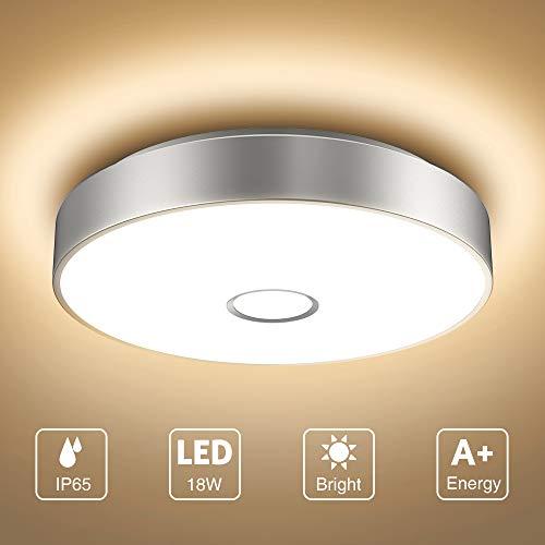 Onforu 18W LED Deckenleuchte Badezimmer, IP65 Wasserdicht Deckenlampe, 1800lm 2700K Warmweiß Küchenlampe, CRI>90 Badezimmerlampe, Mordern Decke Badlampe Lampe für Küche, Schlafzimmer, Wohnzimmer, Bad