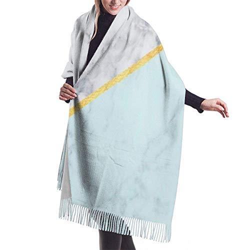 Tengyuntong Bufanda de mantón Mujer Chales para, Bufanda de cachemira celeste de mármol dorado para mujeres y hombres, bufandas de invierno suaves de gran tamaño y ligeras, chales con flecos