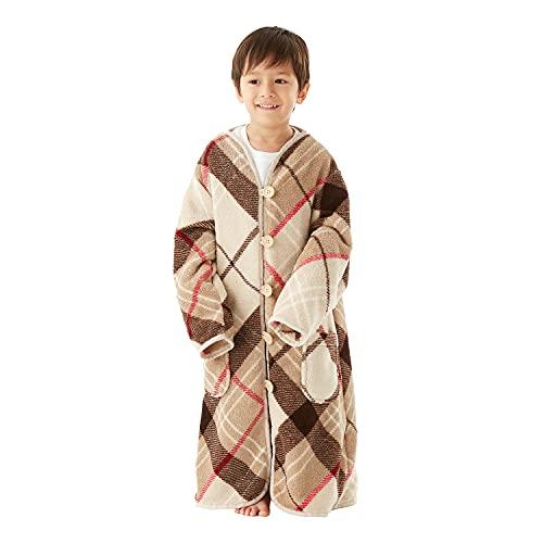 groony グルーニー 着る毛布 子供用 子供服 着丈70cm ベージュチェック