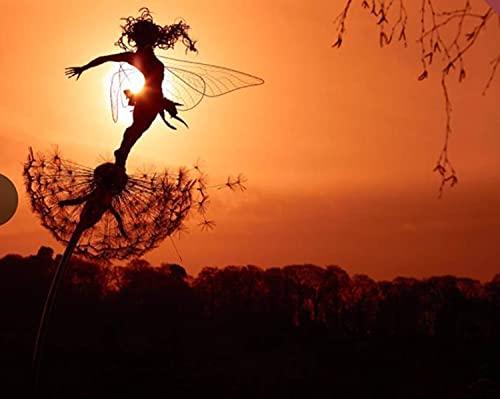 Everpert Elfe Metall Rost gartendeko ,26cm x Länge 88cm Fairy und Pusteblume groß Gartenstecker Rostoptik,Figur Rost Deko für Garten B