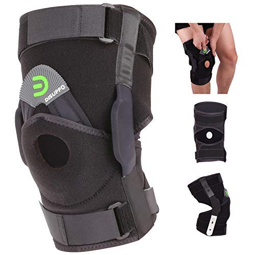 DISUPPO Hinged Knee Brace Support, Adjustable Open Patella Stabilizer for Sports Trauma, Sprains, Arthritis, ACL, Meniscus Tear, Ligament Injuries Compression Recovery (Hinge Removable M)