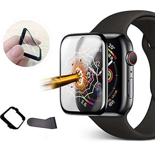 Apple Watch Screen Protector 42mm Series 3/2/1, Full Coverage Scratch-Resistant Anti-Bubble 3D Curved Soft Glass Flexible Film for iWatch 42mm Series 3/2/1 [with Installation Frame Easy Install ]