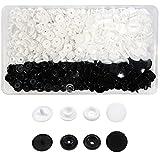 TOAOB 150 Set 12 mm Botones Redondos de Negro y Blanco T5 Plástico Botón de Presión para Ropa DIY y Manualidades