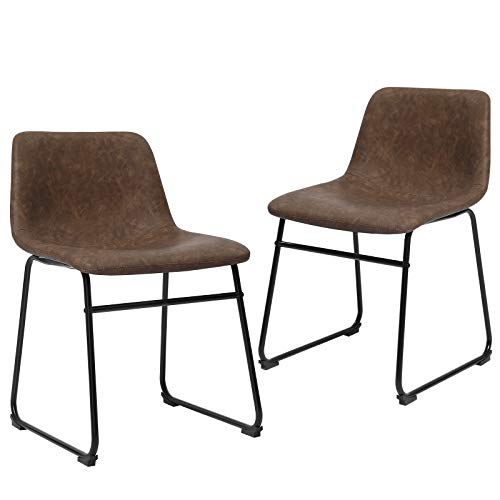 """SONGMICS Set of 2 Dining Chairs with Backrest, Metal Legs, Comfortable Wide Seat, 18.9""""L x 21.2""""W x 29.9""""H, Retro Brown"""