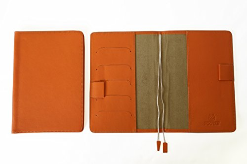 FOOTANブランド 本革手帳カバー B6サイズ【オレンジ】バタフライストッパー