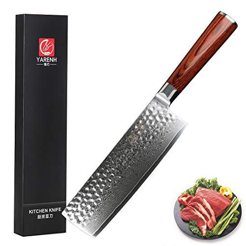 YARENH Cuchillos de Cocina Verdura 17cm,Cuchillo de Cocina Profesional de Acero de Japonés Damasco,Mango de Madera Pakka,Cuchillo Japones Damasco Ultra Filoso,Cuchillos de Cocinero HYZ-Serie