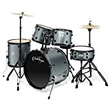 Ashthorpe 5-Piece Complete Full Size Adult Drum Set with Remo Batter Heads - Silver