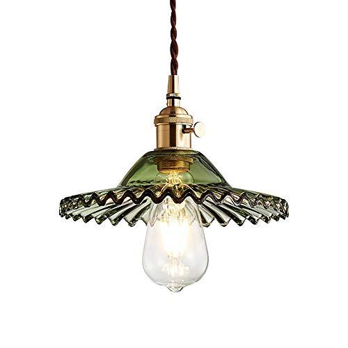 LFsem Semplice lampada a sospensione vintage in ottone con paralume in vetro Lampada a soffitto E27 Loft per camera da letto Ristorante Cafe (Verde)