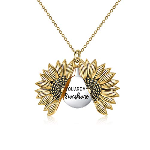 Sterling Silver Sunflower Locket Necklace You Are My Sunshine Engraved Pendant Necklaces Jewelry for Her (Gold)
