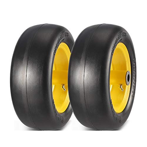 "MaxAuto 2 PCS 11x4.00-5"" Flat Free Tire Lawn Mower Tire on Wheel, 5"" Centered Hub, 3/4"" Bushings, Yellow Steel"