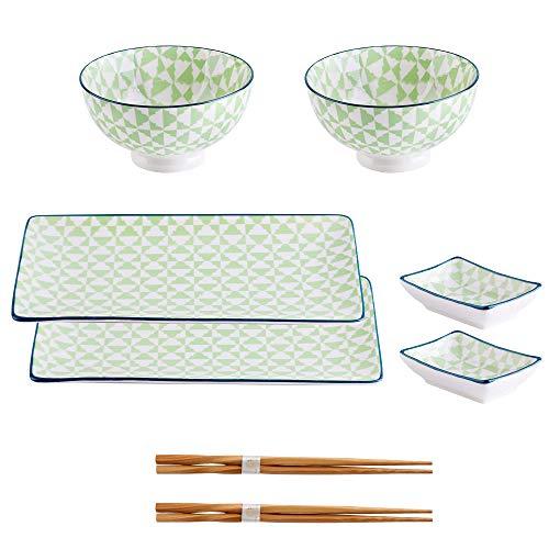 vancasso Serie Midori, Set Sushi da 2 Persone in Porcellana, Set di 2 Piastre + 2 Ciotola di Riso + 2 Ciotoline per Salse + 2 Bastoncini,Stile Giapponese, 8 pz