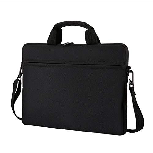 Bolso portátil Funda para portátil Resistente al Agua con Correas de Hombro y Mango portátil Bolsa de Hombro maletín para Hombres Mujeres (Color : Black, Size : 15 Inch)