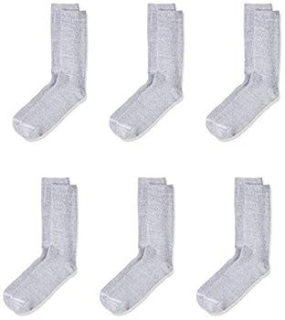 Hanes Ultimate Men s 6-Pack FreshIQ Dyed Crew Socks Grey  6-12-shoe size  10-13 sock size