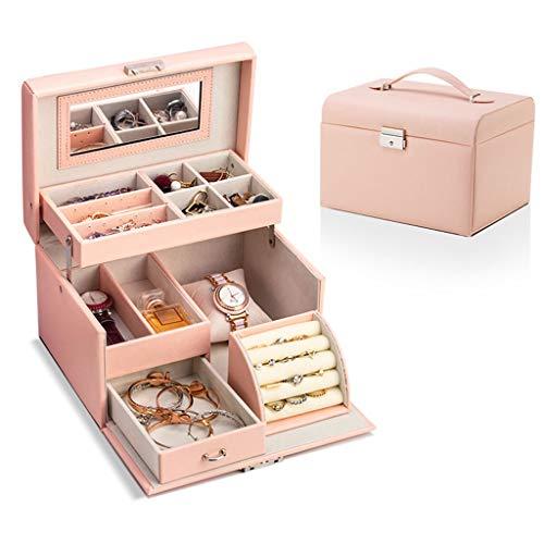 Caja de la joyería caja de almacenamiento de joyería de cuero Oganiser, PU, con el espejo y la cerradura, niña y regalos femeninos, que se utiliza for el anillo, pulsera, collar de almacenamiento