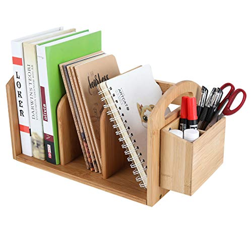 PAG Bamboo Desktop Shelf with Pencil Holder Mail Organizer Magazine Rack Literature Corner Shelves for Home and Office