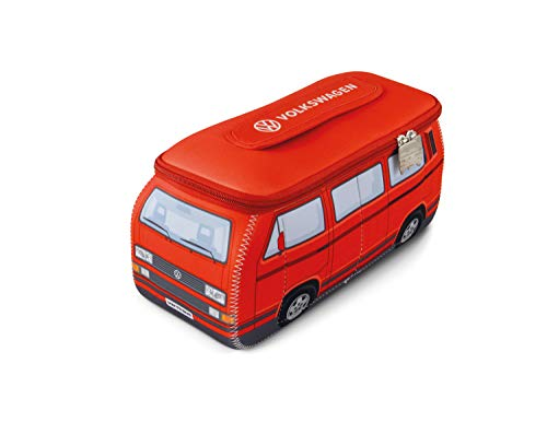BRISA VW Collection - Volkswagen T3 Bulli Bus 3D Universal-Schmink-Kosmetik-Kultur-Reise-Hausrats-Tasche-Mäppchen-Beutel (Neopren/Rot)