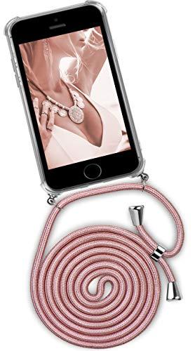 ONEFLOW® Handykette kompatibel mit iPhone 5S / 5 / SE (2016) - Handyhülle mit Band zum Umhängen Case Abnehmbar Smartphone Necklace - Hülle mit Kette, Roségold