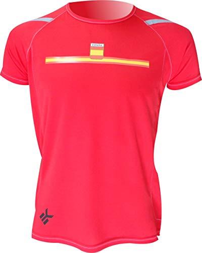 EKEKO SPORT Camiseta ESPAÑA Manga Corta DE Running, Padel, Senderismo, Tenis,Color Rojo (M)