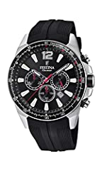 The Festina F20376/3 watch has a round stainless steel case of 46.8 mm in diameter and steel bezel with tachymetric scale, a black dial covered by a mineral crystal and a black rubber strap. Its hands and indexes are luminescent, and the second hand ...