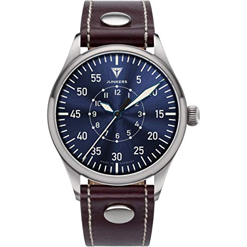 Junkers Baumuster Analog Quarz Uhr Lederarmband Saphirglas blau 9.20.02.01
