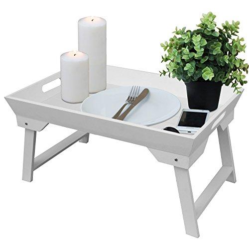 Serviertablett mit klappbaren Füßen 25x48x32cm Tabletttisch Frühstückstablett Betttablett im Landhaus-Stil - Weiß