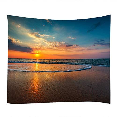 DreamyDesign Seaside Sunset Pattern Wandteppich Naturlandschaft Wandbehang Natur Landschaft Tapisserie Dekoration Wesentliche Gegenstände für die Dekoration des Wohn Schlafzimmers(150 x 200 cm)