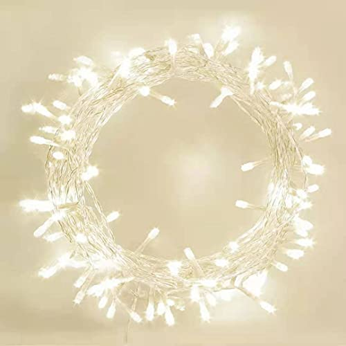 LIOPEED 42ft 120 LED Battery Operated String Lights with Timer, IP65 Waterproof Outdoor Fairy Light 8 Modes for Bedroom,Garden,Party,Xmas Tree Indoor Outdoor Decorations,Warm White
