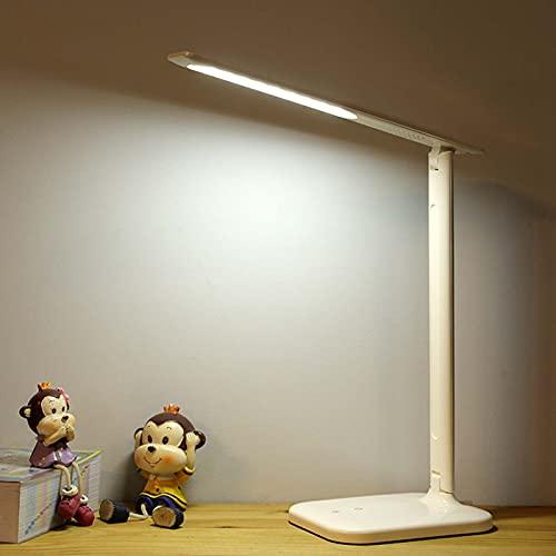SJNSJN Lámpara Escritorio LED, 5W Lámp de Noche Atenuación Continua de 3 Temperaturas Color, Interruptor Tactil Puerto Carga USB Lampara Mesa, Plegable Luz de Iluminación Apto para Estudio y Oficina