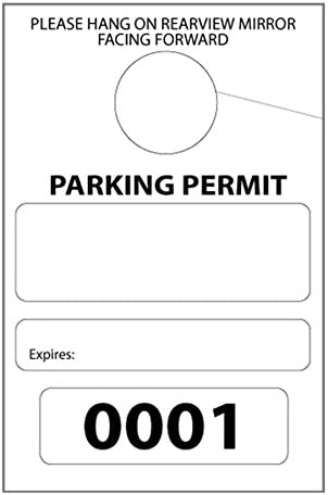 Parking Permit Hang Tags 3-1 8