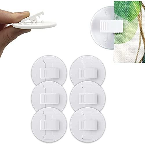 Duschvorhang Clips, 6-Stück Selbstklebende Dusche Liner Spritzschutz Winddicht Stop Protect Clips Badezimmer Zubehör-Weiß (Weiß 1)