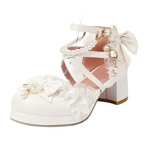 FitWee Mujer Tacón Ancho PlataParama Sandalias Con Lazos Correa de Tobillo Lolita Zapatos Con Volante fruncido Escuela Alumna Zapatos Blanco Numero 34 Asiática