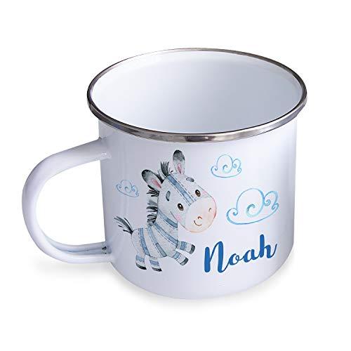 Personello® Emaille Tasse Becher mit Namen Bedrucken, weiß, Zebra im Himmel, für Kinder im Kindergarten, 300ml