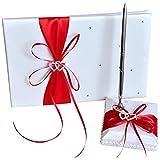 Nrpfell Wedding Livre d'or avec Porte-Stylo Ensembles Satin Bows Signature Livre avec Diamants Amour Forme pour Décorations De Fête-Rouge Blanc