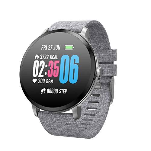 Reloj inteligente, pantalla de color 1.3, información, análisis del sueño, información de empuje de metal, proceso integrado, adecuado para correr, deportes, natación, montar (color: lona plateada)