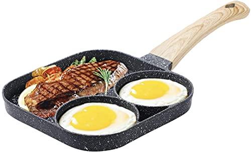Sartén antiadherente para huevos, sartén dividida para desayuno, utensilios de cocina de 3 secciones, sartén para huevos, tocino y hamburguesas (3 rejillas)